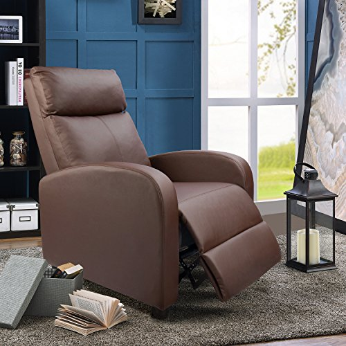 Magnificent Devoko Adjustable Single Recliner Chair Pu Leather Modern Living Room Sofa Padded Cushion Manual Home Theater Seating Brown Dustin A Purtan Creativecarmelina Interior Chair Design Creativecarmelinacom