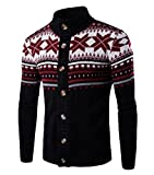 Product review for Comfy Men Classic Long-Sleeve Christmas Floral Print Knit Cardigan