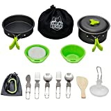 CampingRockers 15PCs Camping Cookware Mess Kit - Durable Pot Pan Bowls & Folding Knife, Nylon Bag- Lightweight Set for Backpacking, Hiking Outdoors - Non-Stick Aluminum Cookset & Utensils for Picnic