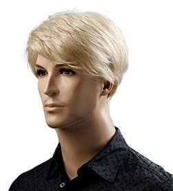 Hairsw Synthetic 6inch Short Blonde Wig Natural Hair Men Straight