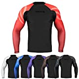 Sanabul Essentials Long Sleeve Compression Training Rash Guard forMMA BJJ Wrestling (Small, RED)