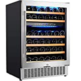 【Upgraded】Aobosi 24 Inch Dual Zone Wine Cooler 46 Bottle Freestanding and Built in Wine Refrigerator with Advanced Cooling System, Quiet Operation, Blue Interior Light | Easily Store Larger Bottles