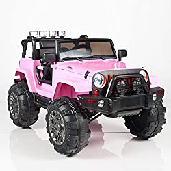 Kids 12V Battery Operated Ride On Jeep Truck with Big Wheels RC / Remote Control, Pink