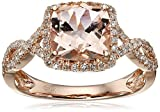 14k Rose Gold Morganite and Diamond Cushion Infinity Ring (1/4cttw, H-I Color, I1-I2 Clarity), Size 7