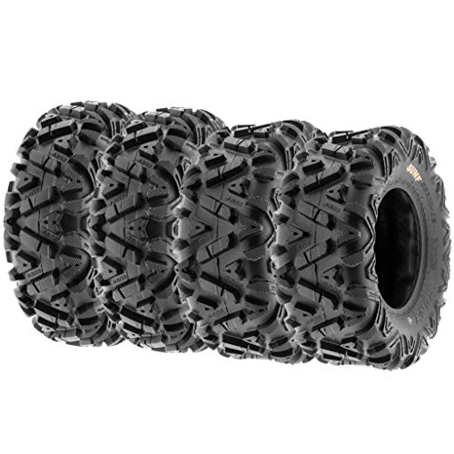 Set of 4 SunF Power.I ATV UTV all-terrain Tires 25x8-12 Front & 25x10-12 Rear, 6 PR, Tubeless A033