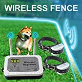Wireless Dog Fence Pet Containment System, Safe Effective Anti Over Shock Dog Fence, Adjustable Control Range 900 Feet & Display Distance, Rechargeable Waterproof Collar (Wireless Fence for 2 Dog)