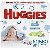 HUGGIES Refreshing Clean Baby Wipes, 10 Packs, 560 Total Wipes