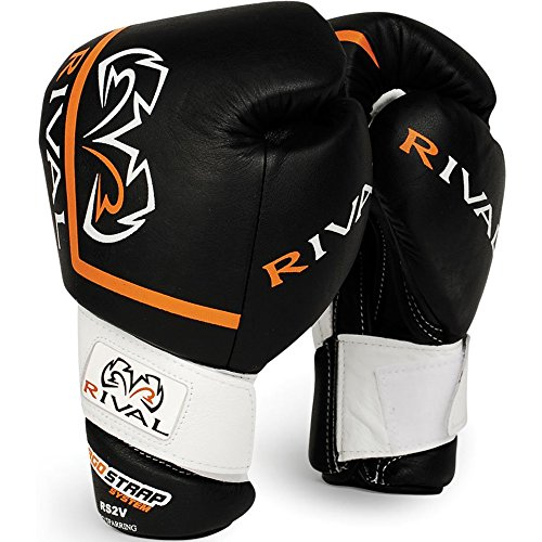 Rival High Performance Hook-and-Loop Sparring Gloves, Black, 16-Ounce
