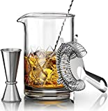 Crystal Cocktail Mixing Glass Set - Includes Mixing Spoon, Strainer, Jigger and 18oz 550ml Cocktail Glass - Sturdy, Thick Base - Perfect for Amateurs & Pros - Great Gift