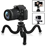 Camera/Phone Tripod,Patekfly 12 Inch Flexible Camera Tripod for GoPro/Canon/Nikon/Sony DSLR Cam/Gopro Action Cam, Phone Tripod Stand with Cell Phone Holder Clip for iPhone/Android Phone(3 in 1)