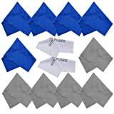 Eco-Fused Microfiber Cleaning Cloths - 12 Pack - Ideal for Cleaning Glasses, Spectacles, Camera Lenses, iPad, Tablets, Phones, iPhone, Android Phones, Laptops, LCD Screens and Other Delicate Surfaces