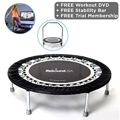 Maximus Pro Gym Rebounder Mini Trampoline with Handle bar. Package Includes 2 x Great Compilation Rebound DVD's 7 Workouts, 3 Months Free Video Membership! 150kg User Weight.
