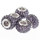 RUBYCA Big Hole Handmade Czech Crystal Slide Beads fit European Charm Bracelet (5pcs, Purple, 11mm)