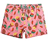 MaaMgic Mens Boys Short Pineapple Watermelon Swim Trunks with Mesh Lining Quick Dry Mens Bathing Suits Swimsuits Swim Shorts, Pink