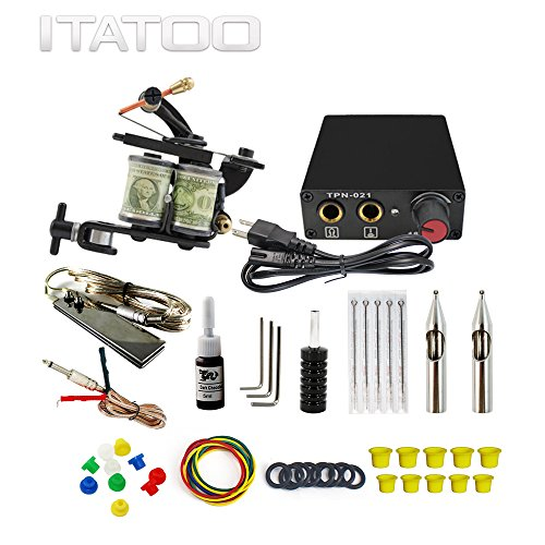 ITATOO Complete Tattoo Kit for Beginners Tattoo Power Supply Kit 1 Black...