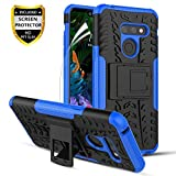 LG G8 ThinQ Case,LG G8 Case w/HD Screen Protector,[Built-in Kickstand] Heavy Duty Protection Dual Layer Shockproof Non-Slip Reinforced Corners Anti-Scratch Hybrid Rugged Phone Case-Blue