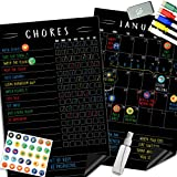 Magnetic Behavior Chalkboard Rewards Chore Chart Set - Multiple Kid Chore Chart System w/Reusable Monthly Calendar, Responsibility Magnets & Dry Erase Refrigerator Reward Incentive - 17' x 11'