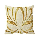 Smity 106 Pillowcase Gold Lotus Flower Outdoor Pillow Cover for Sofa or Bedroom
