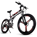 ENGWE Folding Full Suspension Electric Bike with 26' Super Lightweight Magnesium Alloy 3 Spokes Integrated Wheel, Powerful Lithium-Ion Battery and 21 Speeds Shimano Gear