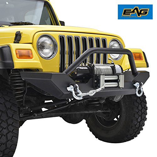 EAG 97-06 Jeep Wrangler TJ Front Bumper with 2x D-ring & Winch Plate (51-0034)