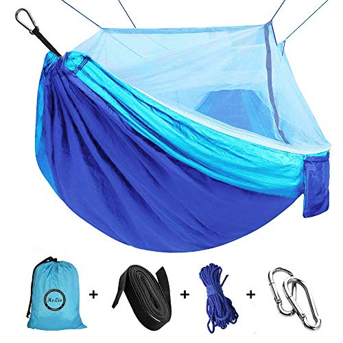 Camping Hammock with Net Mosquito, Parachute Fabric Camping Hammock...
