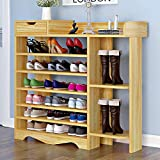 Shoes Shelf, Shoes Rack Storage Shoes Organizer 7 Tiers Multi-Functional Free Standing DIY Shoes Cabinet Holds 20-26 Pairs of Shoes for Entrance Living Room (Wood)