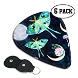 LXXTK Unique Luna Moth Butterfly Fullmoon Night Celluloid Guitar Pick 6 Pack - Music Gifts for Bass, Electric & Acoustic Guitars
