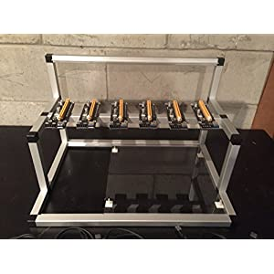GPU Mining Rig Open Air Frame Case with 6 USB Risers ZCASH ZEC