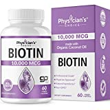 Biotin 10,000mcg; with 100% Organic Coconut Oil from (Patented) goMCT | High Potency Biotin for Hair Growth, Nail & Skin Health | Non-GMO & Vegan Hair, Skin, and Nail Vitamins | 60 Capsules