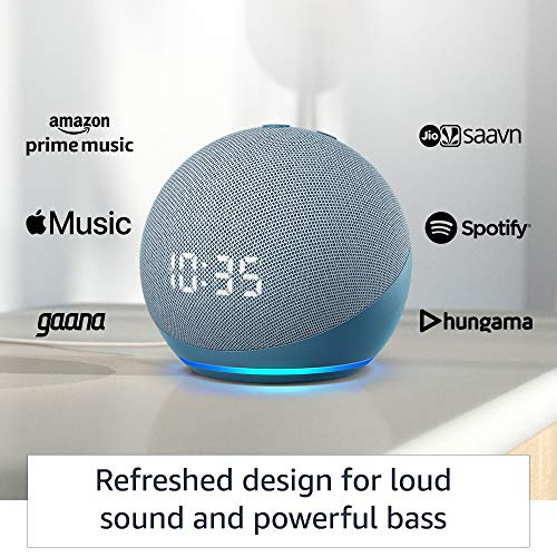 All-new-Echo-Dot-4th-Gen-with-clock-Next-generation-smart-speaker-with-improved-bass-LED-display-and-Alexa-Blue