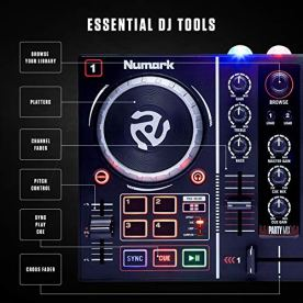 Numark-Party-Mix-Complete-DJ-Controller-Set-for-Serato-DJ-with-2-Decks-Party-Lights-Headphone-Output-Performance-Pads-and-Crossfader-Mixer