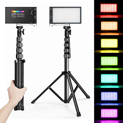 Pixel-G1s-RGB-Video-Lighting-with-Portable-Tripod-Stand-LED-Camera-Light-Kit-8500K-Light-Panel-with-Aluminum-Alloy-Body-for-Product-Portrait-YouTube-Photography-Video-Conference-Studio-Shooting