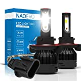NAO H13 (High/Low Beam) LED Headlight Bulbs,72W 7600LM /Pair Upgrade Flip Chip LED Headlights All-in-One Conversion Kit (Pack of 2)