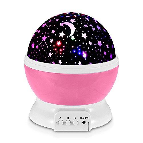 Redlemon Lámpara Proyector de Estrellas Giratorias para Habitación de Niños y Bebés, con Luz LED...