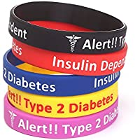 """5 Pack-Type 2 Diabetes Jewelry Silicone Medical Alert Bracelets-7.5"""""""