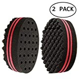 BERON Two Sides Oval Shape Afro Braid Style Coil Wave Hair Curl Sponge Brush for Natural Hair (2 Pcs Black/Red)