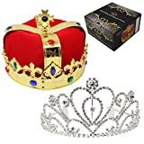 JOYIN Royal Jewleled 2 Pack King's and Queen's Royal Crowns - King Queen Halloween Costume Prom Accessories