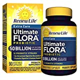 Renew Life Adult Probiotic - Ultimate Flora Probiotic Extra Care, Shelf Stable Supplement - 50 billion - 90 Vegetable Capsules (Packaging May Vary)
