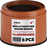 iPrimio Bed and Furniture Risers - 6 Pack Round Elevator up to 3' & Lifts Up to 10,000 LBs - Protect Floors and Surfaces - Durable ABS Plastic and Anti Slip Foam Grip - Non Stackable - Brown