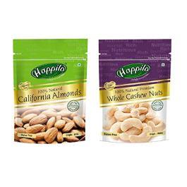 Happilo100% Natural Premium Californian Almonds, 200g (Pack of 2) & 100% Natural Premium Whole Cashews, 200g (Pack of 2) Combo