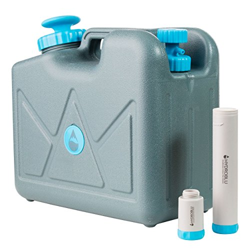 HydroBlu Pressurized Jerry Can Water Filter-Activated Carbon and Hollow Fiber Filters; Water Can for Travel, Camping, and Emergency Preparedness -a Life Saving Water System