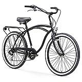 sixthreezero Around The Block Men's 7-Speed Cruiser Bicycle, Matte Black w/ Black Seat/Grips, 26' Wheels/19' Frame