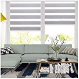 LUCKUP Easy Fix Zebra Roller Blind,Day and Night Blinds Curtains with Install Accessories (41.3' x 59', White)