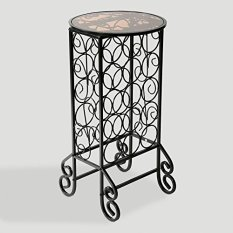 Elegant Black Wrought Iron Wine Rack with Glass Tabletop