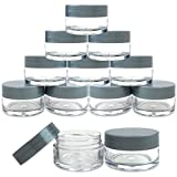 Beauticom® 12 Pieces High Quality 20G/20ML Round Clear Jars with Gray Lids for Herbs, Spices, Loose Leaf Teas, Coffee and Other Foods - BPA Free