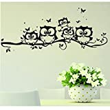 Laimeng, Kids Creative PVC Cartoon Owl Butterfly Removable Home Wall Decal
