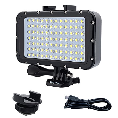 Suptig Underwater Lights Dive Light 84 LED High Power Dimmable Waterproof LED Video Light Waterproof 164ft(50m) For Gopro Canon Nikon Pentax Panasonic Sony Samsung SLR cameras