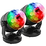 [2-Pack] Portable Sound Activated Party Lights for Outdoor and Indoor, Battery Powered/USB Plug in, Dj Lighting, RBG Disco Ball, Strobe Lamp Stage Par Light for Car Room Dance Parties Birthday DJ Club