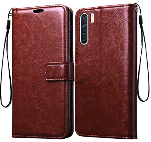 Jkobi Vintage Flip Case Cover for Oppo F15 | Premium Leather | Inner TPU | Foldable Stand | Wallet Card Slots -Brown 1