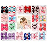 Ezerbery 40 pcs 1.8' Baby Girls Ribbon Hair Bow Clips Printed Pattern Barrettes hairpins hair accessories for Girl Teens Kids Babies Toddlers